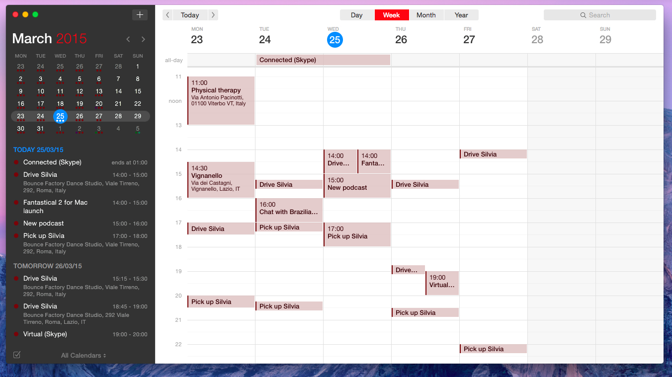 The Week view in Fantastical 2.