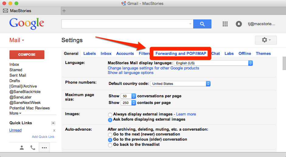 How to Configure Gmail with OS X Yosemite Mail – MacStories