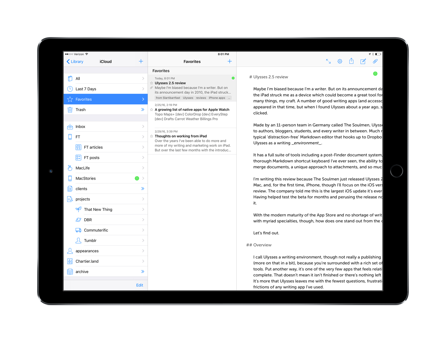Ulysses 2.5 for iPad